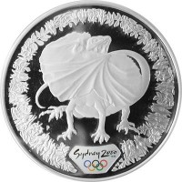 Olympic silver coin Sydney 2000  - Lizard and flora - 31.635 gms