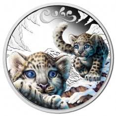 Silver coin - Snow leopard cubs, Tuvalu, 50 cents, 1/2 oz, 999, 2016