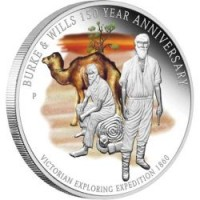 Silver coin - 150 year anniversary of Burke and Wills expedition - 1 oz, 999
