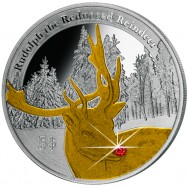 Silver coin Rudolph, with Ruby-nose, 12 gr., 925
