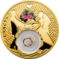 Silver Wedding Coin (gold plated), 28.28 gr., 925